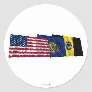 US, Pennsylvania and Pittsburgh Flags Classic Round Sticker