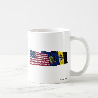 US Pennsylvania and Pittsburgh Flags Coffee Mug