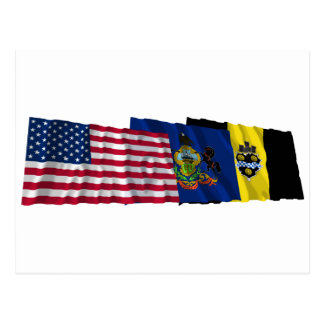 US, Pennsylvania and Pittsburgh Flags Postcard