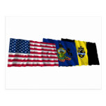 US, Pennsylvania and Pittsburgh Flags Postcards