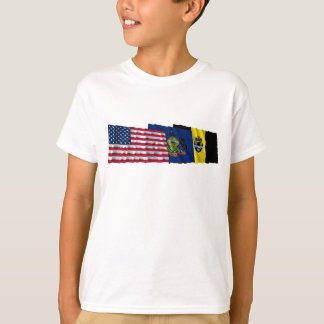 US, Pennsylvania and Pittsburgh Flags T-Shirt