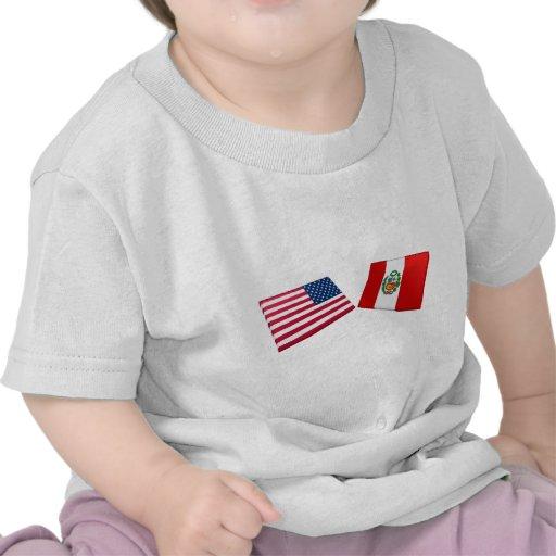 US & Peru Flags Tshirt