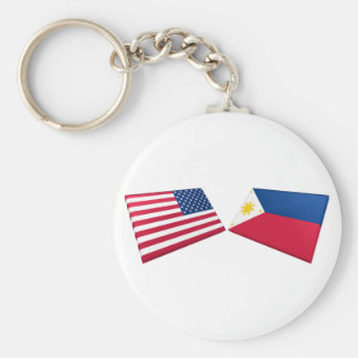 US & Philippines Flags Keychain