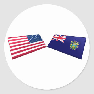 US & Pitcairn Islands Flags Classic Round Sticker