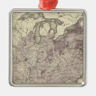 US Population 1850 Square Metal Christmas Ornament