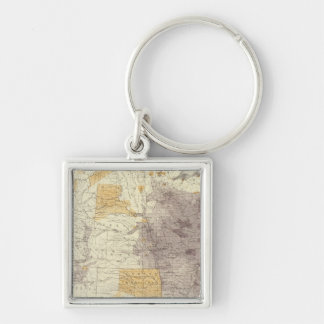 US Population 1870 Silver-Colored Square Keychain