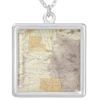 US Population 1870 Square Pendant Necklace