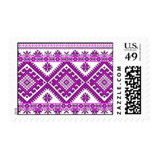 US Postage Ukrainian Embroidery Graphic Purple