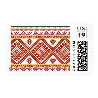 US Postage Ukrainian Embroidery Print Red