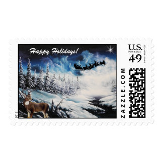 US Postal stamp with winter scene, sleigh & deer