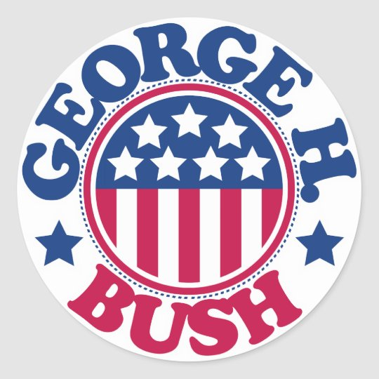 US President George H Bush Classic Round Sticker