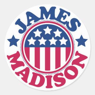 US President James Madison Classic Round Sticker