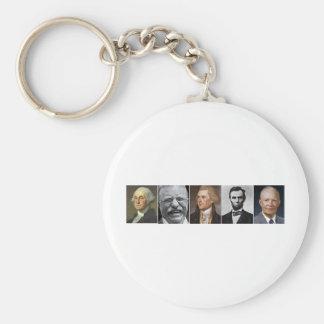 US Presidents Basic Round Button Keychain