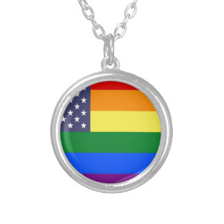 US Pride Flag Silver Plated Necklace