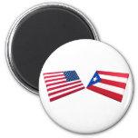 US & Puerto Rico Flags Refrigerator Magnet