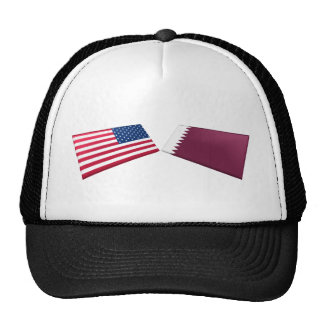 US & Qatar Flags Trucker Hats