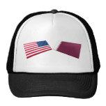 US & Qatar Flags Trucker Hats