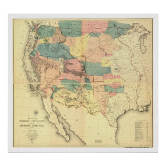US Railroad Survey Map 1858 Poster
