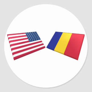 US & Romanian Flags Classic Round Sticker
