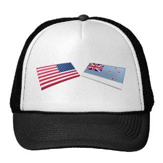 US & Ross Dependency Flags Trucker Hats