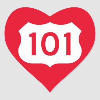 US Route 101 Sign Heart Sticker