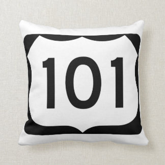 US Route 101 Sign Throw Pillow