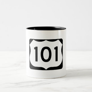 US Route 101 Sign Two-Tone Coffee Mug