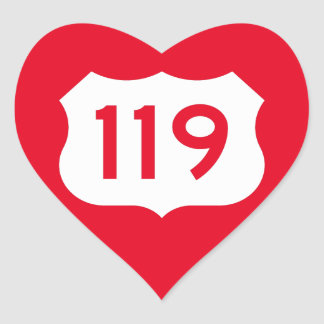 US Route 119 Sign Heart Sticker