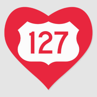 US Route 127 Sign Heart Sticker