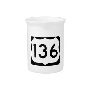 US Route 136 Sign Beverage Pitchers