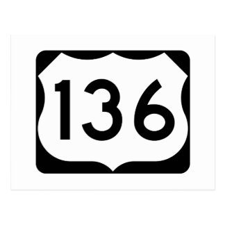 US Route 136 Sign Postcard