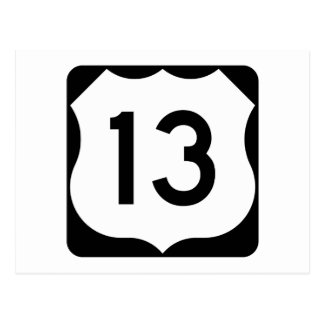US Route 13 Sign Postcard