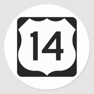 US Route 14 Sign Classic Round Sticker