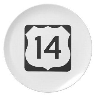 US Route 14 Sign Melamine Plate