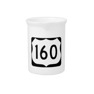 US Route 160 Sign Beverage Pitchers