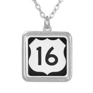 US Route 16 Sign Square Pendant Necklace