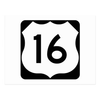 US Route 16 Sign Postcard