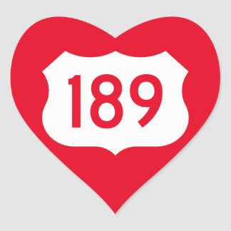 US Route 189 Sign Heart Sticker