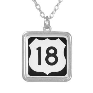 US Route 18 Sign Square Pendant Necklace