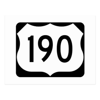 US Route 190 Sign Postcard