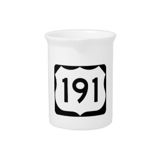 US Route 191 Sign Beverage Pitcher