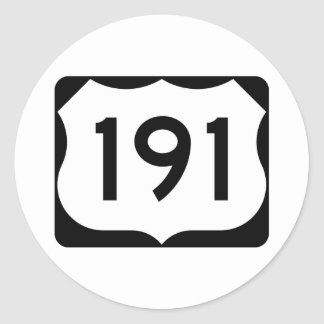 US Route 191 Sign Classic Round Sticker