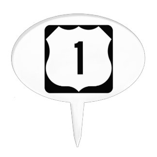 US Route 1 Sign Cake Toppers