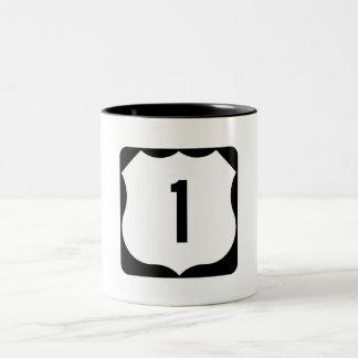 US Route 1 Sign Two-Tone Coffee Mug