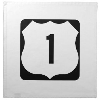 US Route 1 Sign Printed Napkin