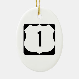 US Route 1 Sign Double-Sided Oval Ceramic Christmas Ornament