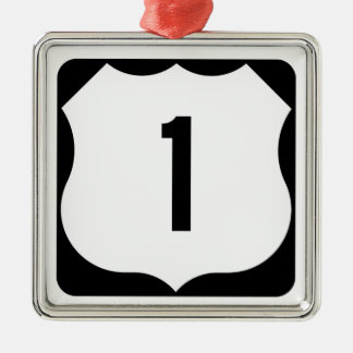 US Route 1 Sign Square Metal Christmas Ornament