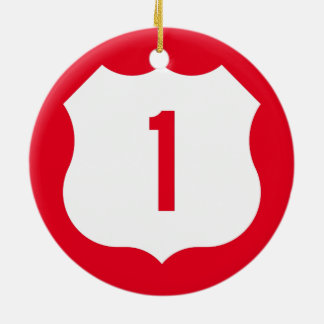 US Route 1 Sign Double-Sided Ceramic Round Christmas Ornament