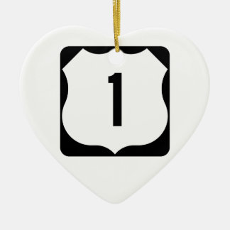US Route 1 Sign Double-Sided Heart Ceramic Christmas Ornament