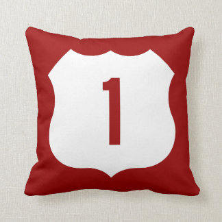 US Route 1 Sign Throw Pillow